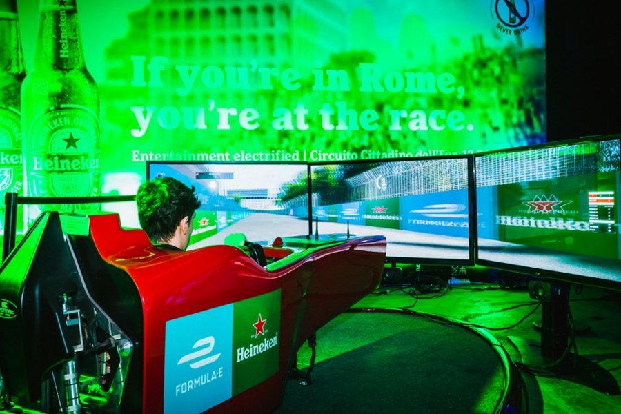 Simulatore Formula E con Fbrand Protagonista all'Heineken Rome E-Prix Official Afterparty