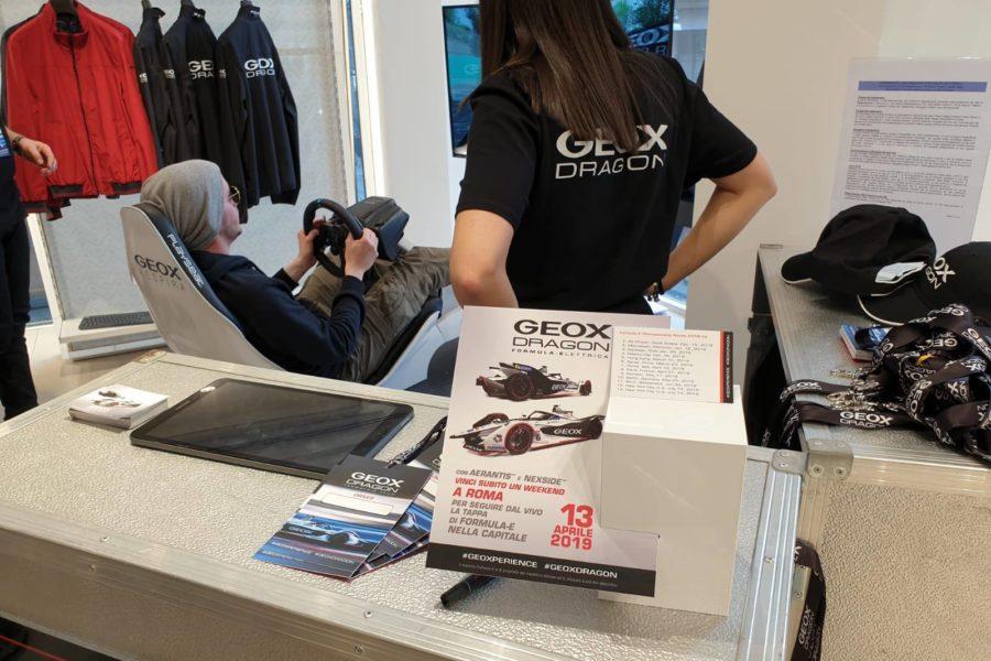 Simulatore Formula E Protagonista negli Geox Store d'Italia e all'Estero